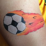 Flaming soccer ball Giggle Loopsy Denver area face painting
